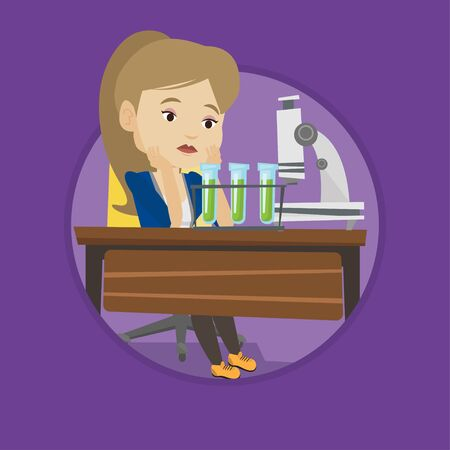 Disappointed student carrying out experiment in chemistry class. Student clutching head after failed experiment in chemistry class. Vector flat design illustration in the circle isolated on background