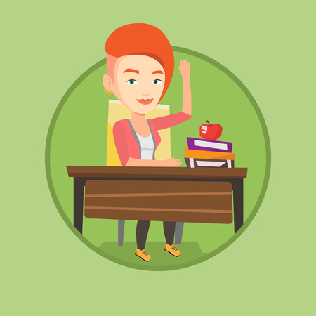 Student raising hand in the classroom for an answer. Student sitting at the desk with raised hand. Pupil raising hand at lesson. Vector flat design illustration in the circle isolated on background. 向量圖像