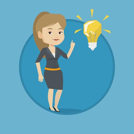Student pointing at idea bulb vector illustration Illustration