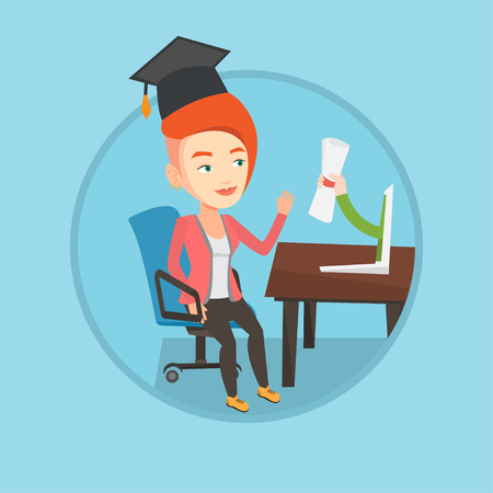 Graduate getting diploma from the computer. Student in graduation cap working on a computer. Concept of educational technology. Vector flat design illustration in the circle isolated on background.