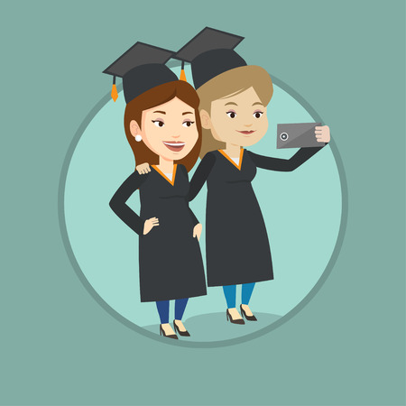 Graduates making selfie vector illustration.