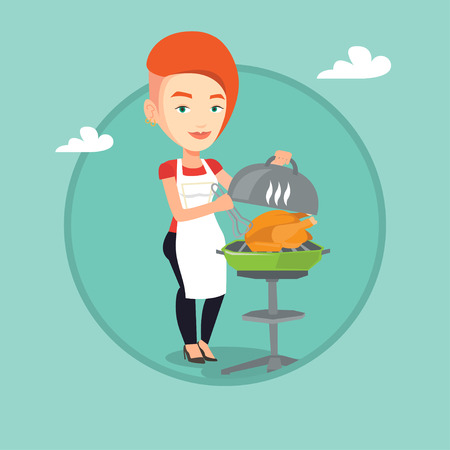 Caucasian woman cooking chicken on barbecue grill outdoors. Woman having a barbecue party. Woman preparing chicken on barbecue grill. Vector flat design illustration in circle isolated on background. Иллюстрация