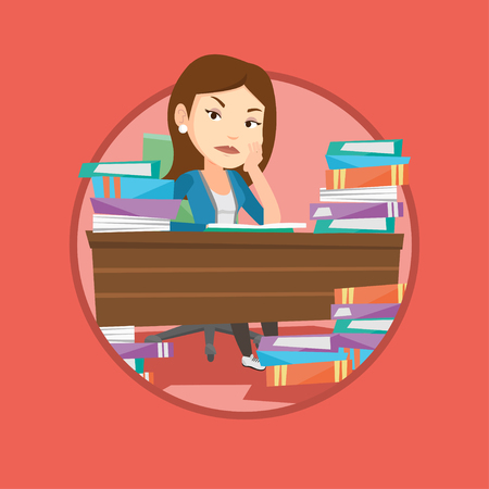 Student studying with textbooks. Caucasian annoyed student studying hard before the exam. Bored student studying in the library. Vector flat design illustration in the circle isolated on background. Çizim
