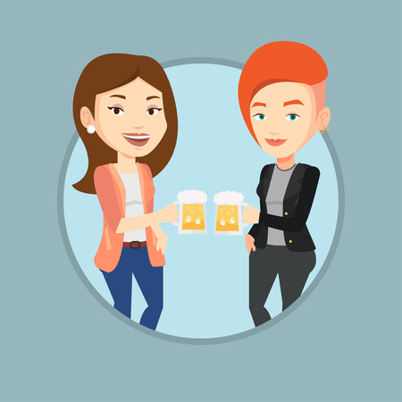 Women toasting and clinking glasses of beer. Caucasian women clanging glasses of beer. Group of friends enjoying a beer at pub. Vector flat design illustration in the circle isolated on background. Illustration