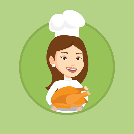 Caucasian chef in uniform and cap holding roasted chicken. Chef with whole baked chicken. Chef holding plate with fried chicken. Vector flat design illustration in the circle isolated on background.