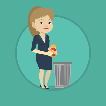 Caucasian woman putting junk food into a trash bin. Woman refusing to eat junk food. Woman rejecting junk food. Diet concept. Vector flat design illustration in the circle isolated on background.