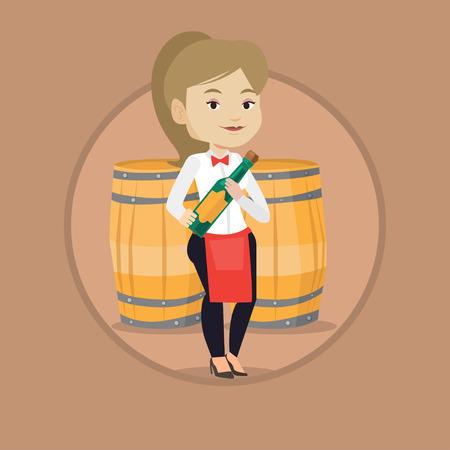 sommelier: Caucasian waitress holding bottle of wine. Waitress standing on the background of wine barrels.