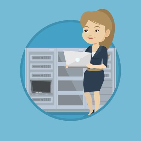 Engineer working in network server room. Engineer standing in network server room. Network engineer using laptop in server Illustration