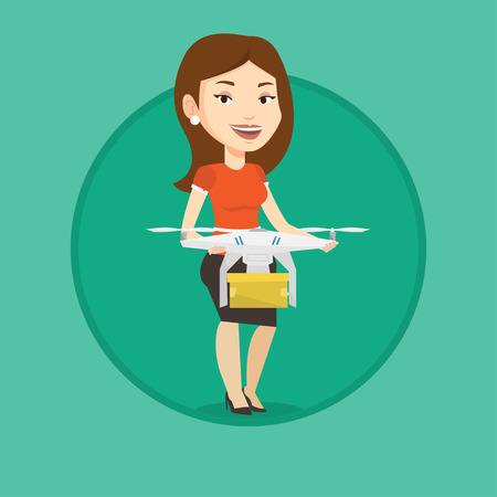 Woman controlling delivery drone with parcel. Woman getting parcel from delivery drone.