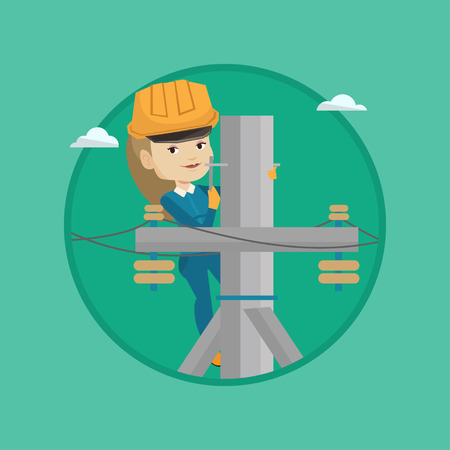 Electrician working on electric power pole. Electrician at work on electric power pole. Stock Illustratie