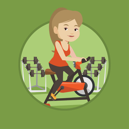 Caucasian woman riding stationary bicycle. Woman exercising on stationary training bicycle. Woman training on exercise bicycle. Vector flat design illustration in the circle isolated on background. Ilustracja