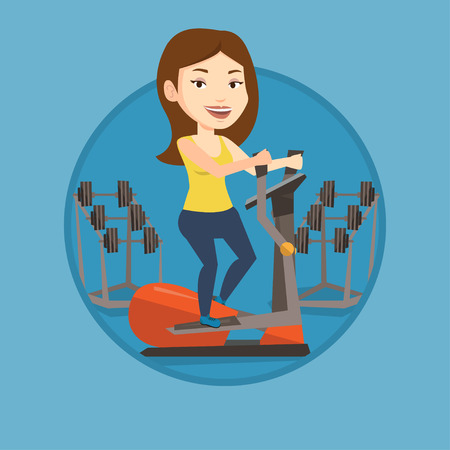 eliptica: Woman exercising on elliptical trainer. Woman working out using elliptical trainer. Woman doing exercises on elliptical trainer. Vector flat design illustration in the circle isolated on background. Vectores