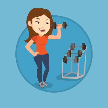 Woman lifting dumbbell vector illustration. Illustration