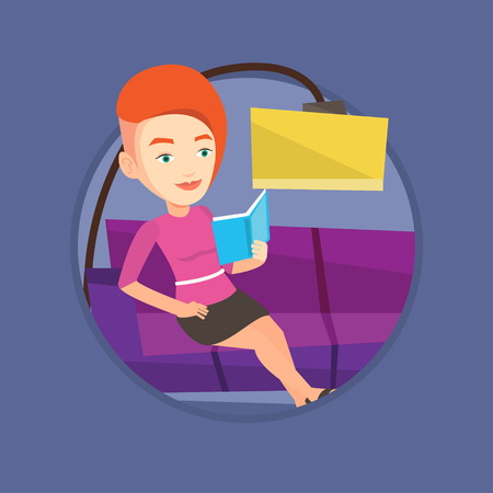 Woman reading book on sofa vector illustration.