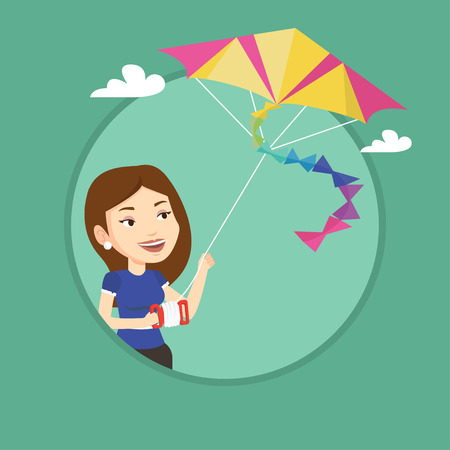 flying kite: Young woman flying kite vector illustration. Illustration