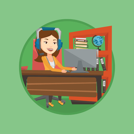 headset business: Business woman with headset working at office. Illustration
