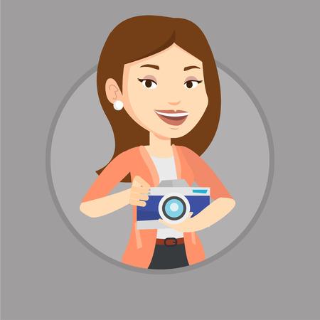 Photographer with camera in photo studio. 向量圖像
