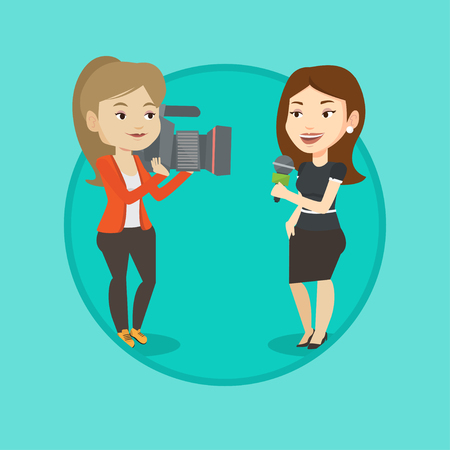 TV reporter and operator vector illustration. Ilustração