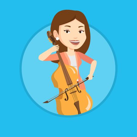 cellist: Woman playing cello vector illustration.