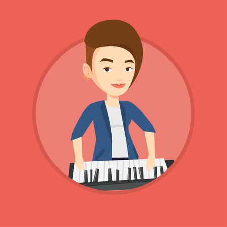Woman playing piano vector illustration.