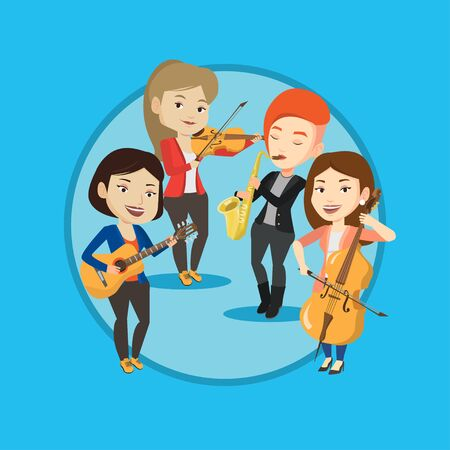 Band of musicians playing on musical instruments. Illustration