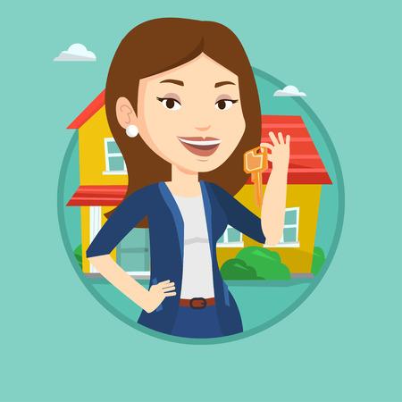 for rental: Real estate agent with key vector illustration. Illustration