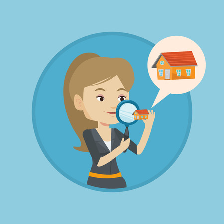 house for sale: Woman looking for house vector illustration.