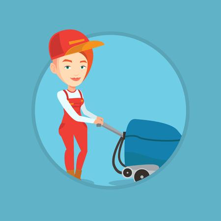 Mujer trabajador limpieza piso de la tienda con la máquina. Vectores