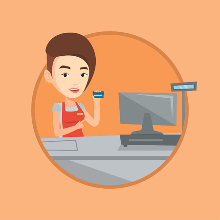 checkout: Cashier holding credit card at the checkout. Illustration