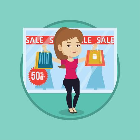 Woman shopping on sale vector illustration.  イラスト・ベクター素材