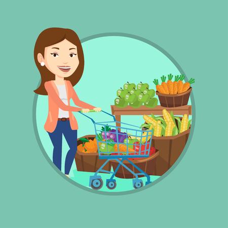mujer en el supermercado: Customer with shopping cart vector illustration. Vectores