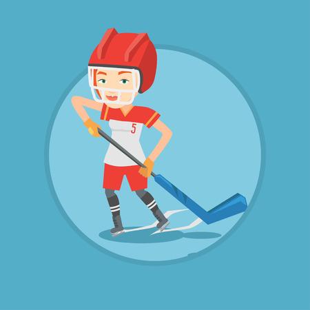 Ice hockey player vector illustration. Illustration