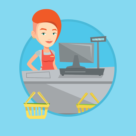 checkout: Cashier standing at the checkout in supermarket. Illustration