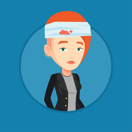 Woman with injured head vector illustration. Illustration
