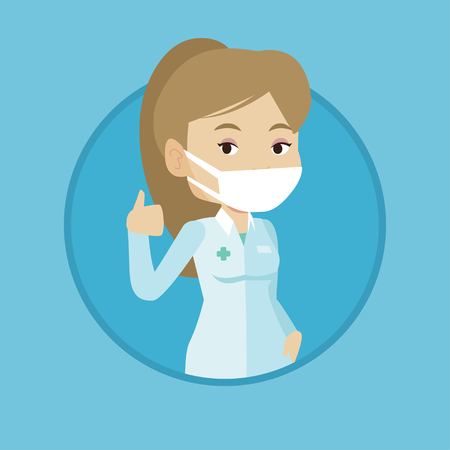protective gown: Doctor giving thumbs up vector illustration. Illustration