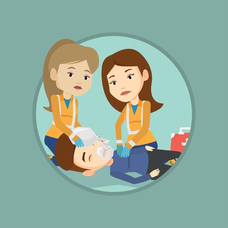 Paramedics doing cardiopulmonary resuscitation