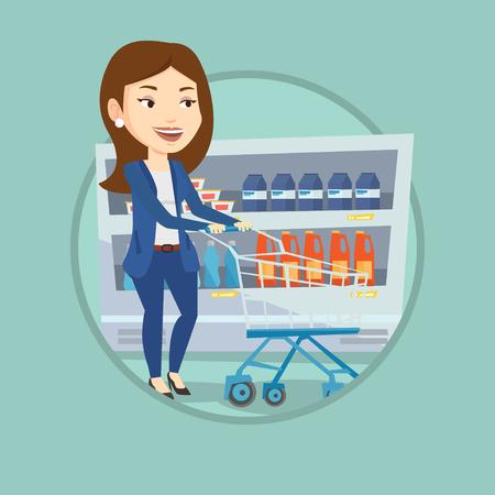 Cliente con carrito de compras ilustración vectorial.