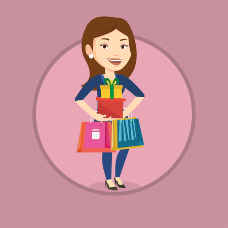 Happy woman holding shopping bags and gift boxes. Ilustração