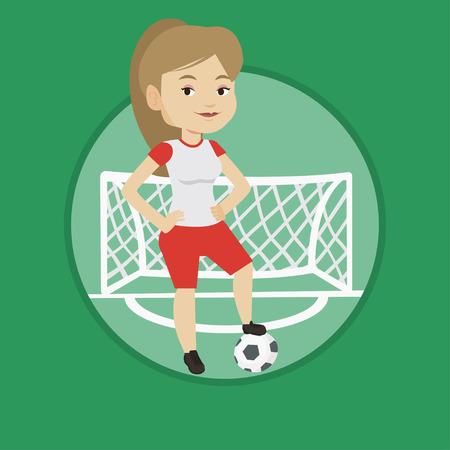 Football player with ball vector illustration. Çizim