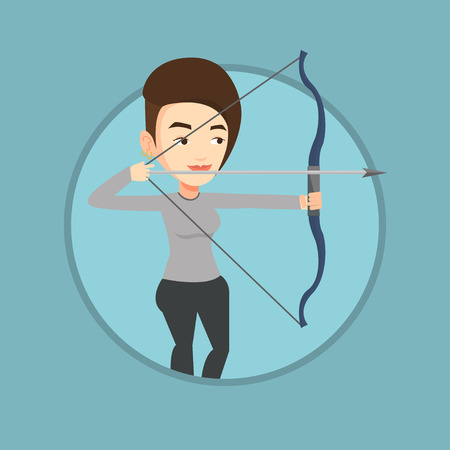 Archer training with the bow vector illustration. Illustration