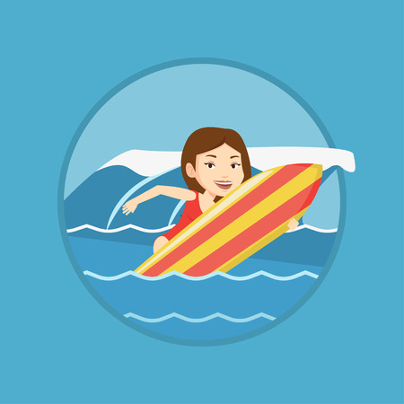 Happy surfer in action on a surf board. Ilustrace