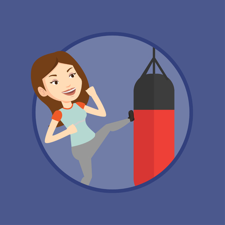 punching: Woman exercising with punching bag. Illustration
