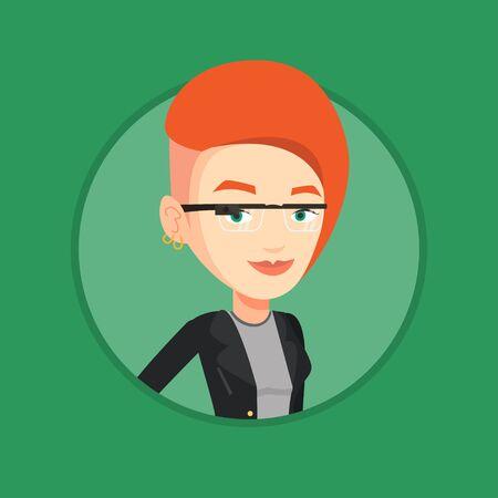 media gadget: Woman wearing smart glass vector illustration.