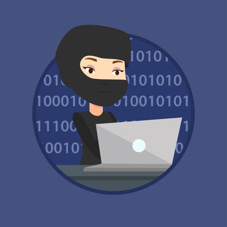 using laptop: Hacker using laptop to steal information.