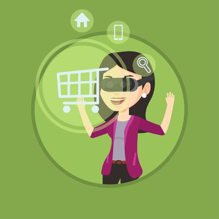 Woman in virtual reality headset shopping online.