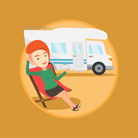 Woman sitting in chair in front of camper van. Illustration