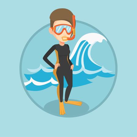 Young scuba diver vector illustration. Illustration