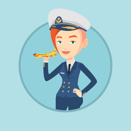 Cheerful airline pilot with model airplane.