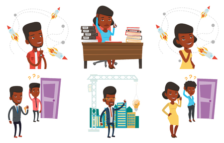 African man pointing at idea bulb hanging on crane. Architect having idea in town planning. Concept of new ideas in architecture. Set of vector flat design illustrations isolated on white background.