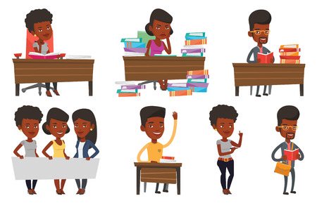 black man thinking: African student sitting at the table and thinking. Thinking student writing in exercise book. Thinking student doing homework. Set of vector flat design illustrations isolated on white background. Illustration